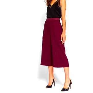 TED BAKER Oderat Maroon High-Waisted Culottes sz 2